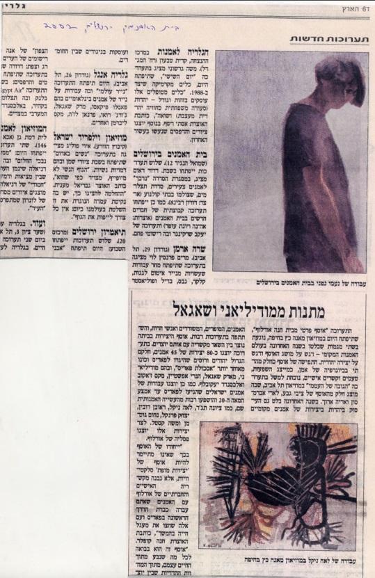 תערוכות חדשות במוסף גלריה, בית האמנים ירושלים , 2002